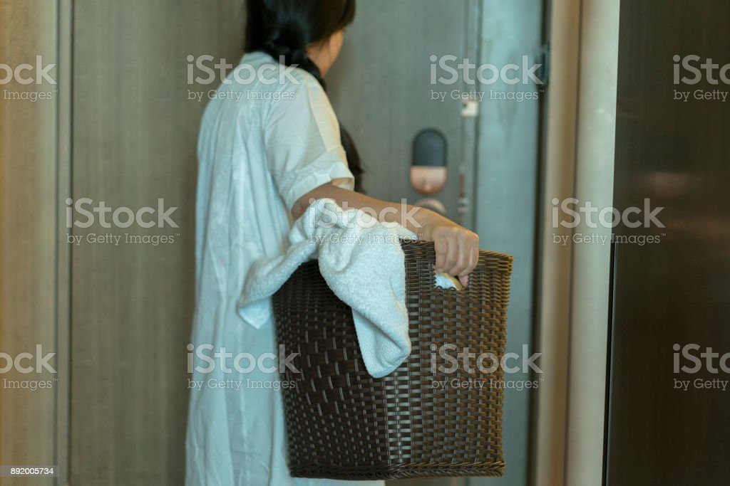 room service cleaning hotel room stock photo