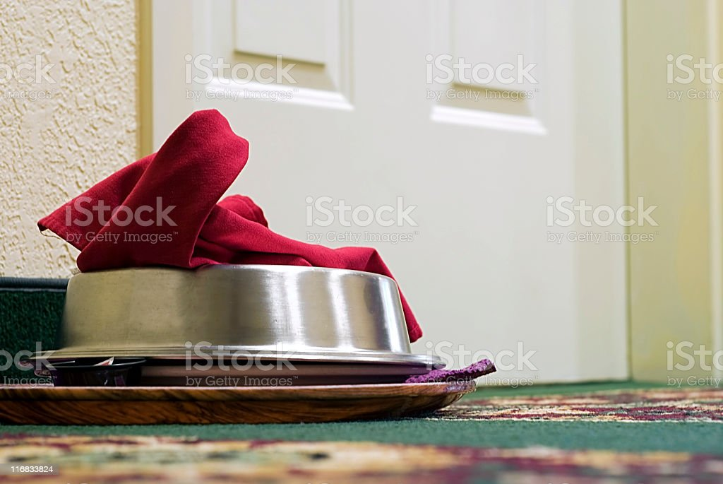 Room Service Covered Serving Plate Sitting Outside of Hotel Door