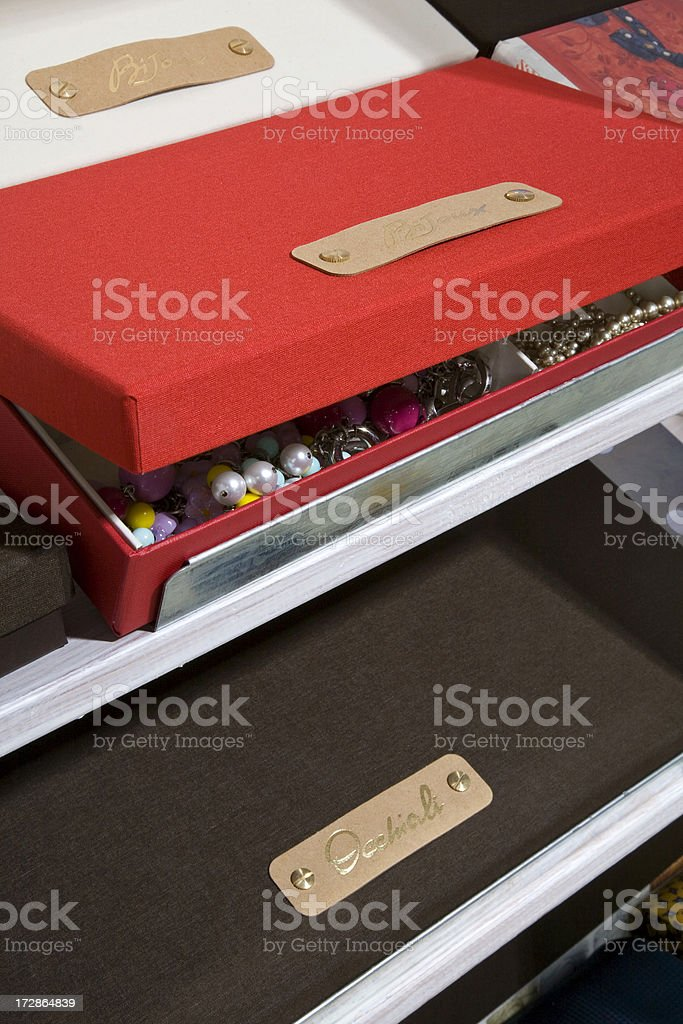 Room wardrobe boxes stock photo
