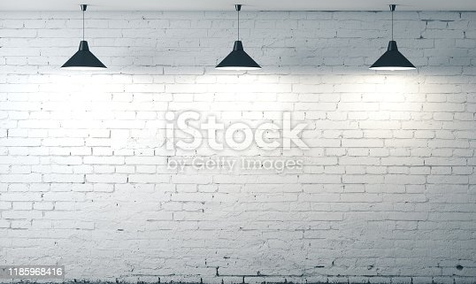 room white brick grunge wall with three ceiling lamp. Mock up, 3D Rendering