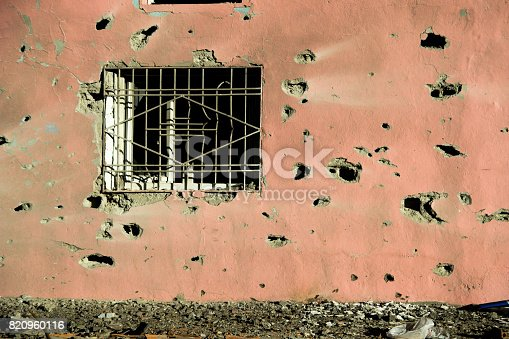 istock Room window with Gun Bullet-Ridle 820960116