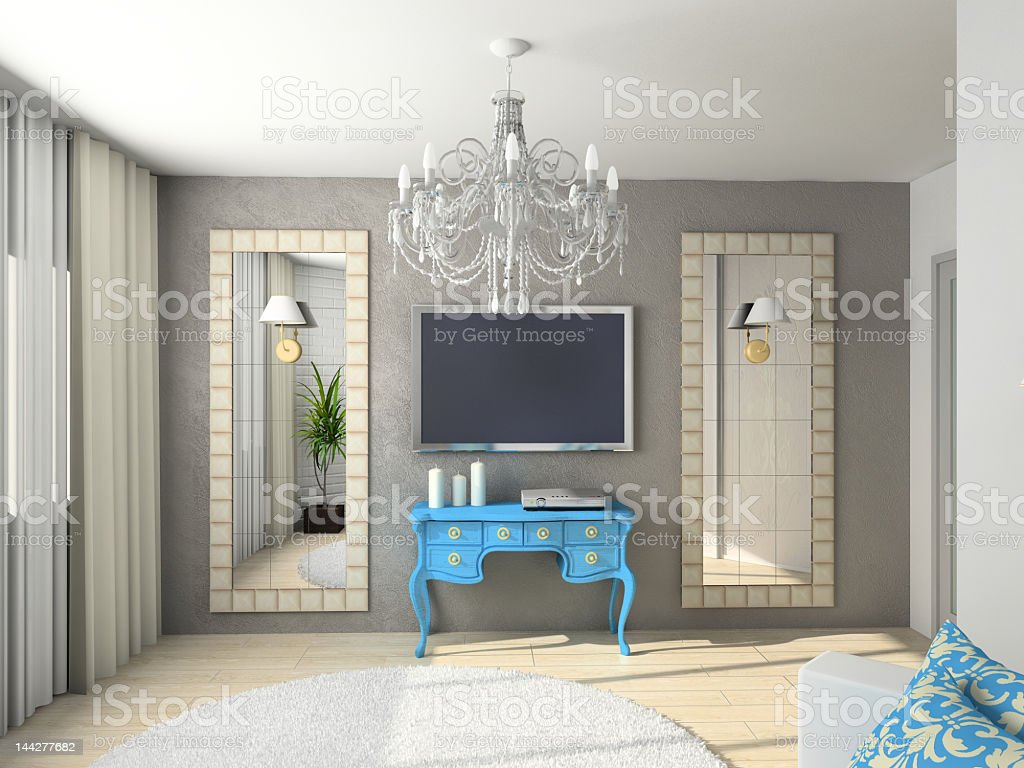 A room with a classic interior royalty-free stock photo