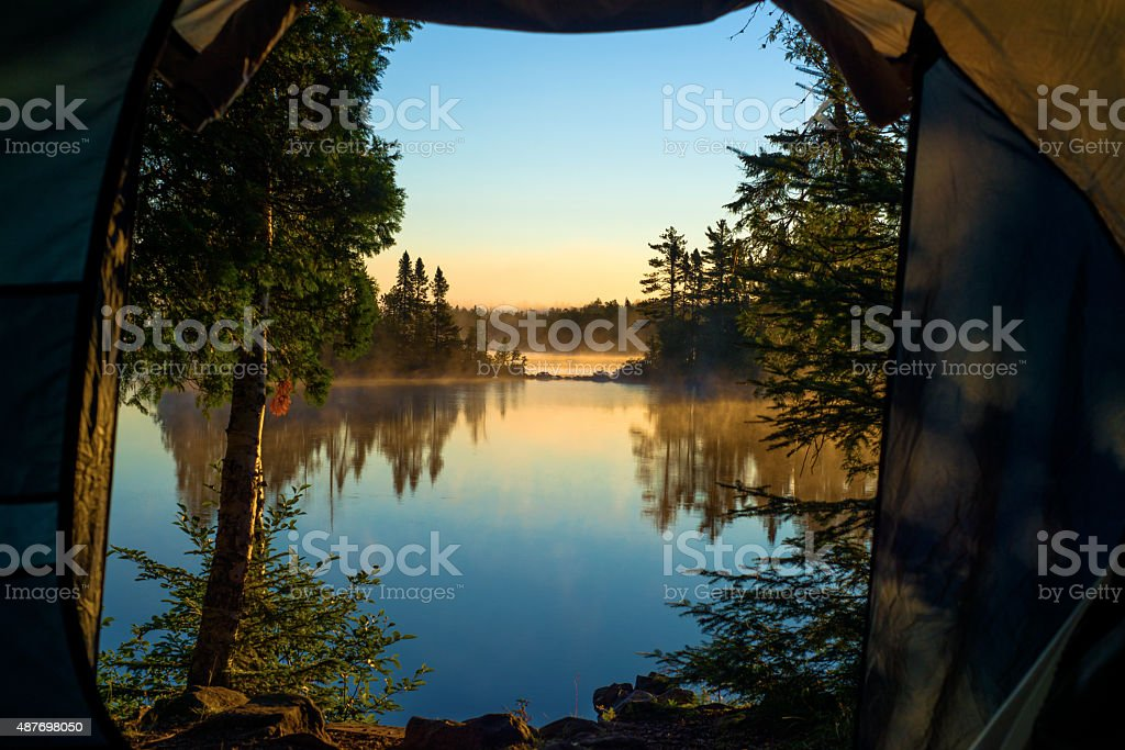 room with a view, crescent lake stock photo