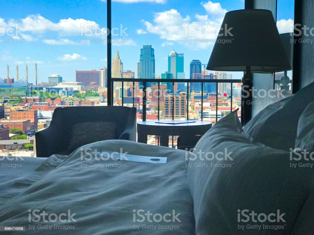 Room with a view of Kansas City Skyline stock photo