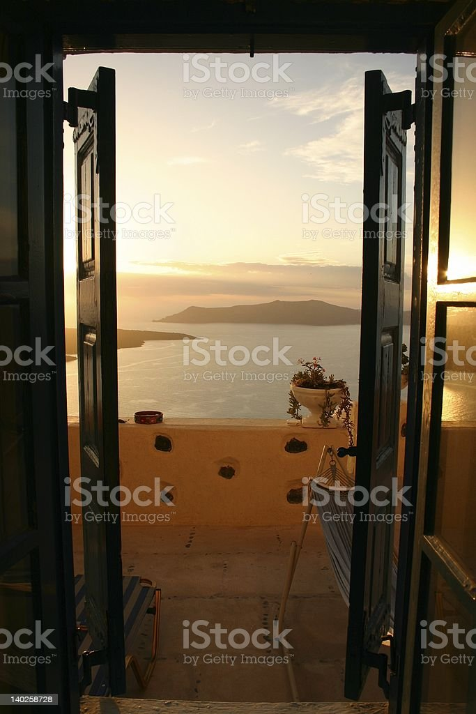 Room with a View, Santorini, Greece royalty-free stock photo