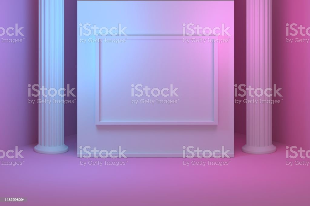 Room with a wall with picture frame and columns stock photo