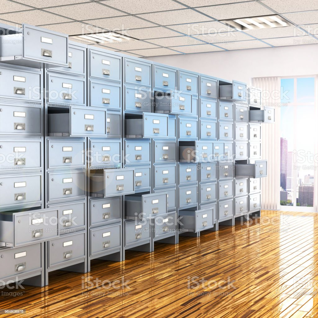 room with archives. 3d illustration royalty-free stock photo