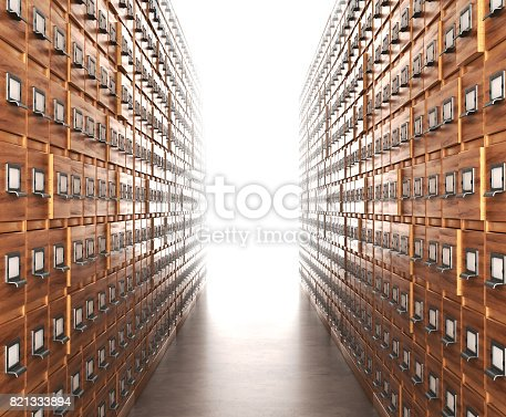815359666 istock photo Room with archives. The archive corridor with cupboards leading to the light. 3D illustration 821333894