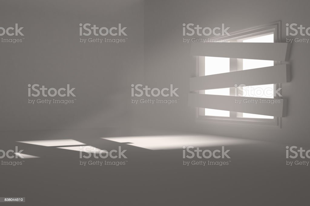 Room with bordered up window stock photo