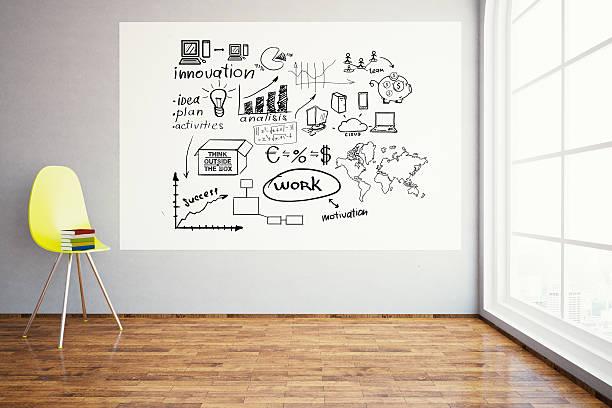 Room with business sketch - foto de acervo