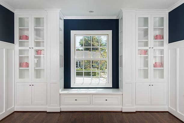 room with cabinets and window - looking inside inside cabinet bildbanksfoton och bilder