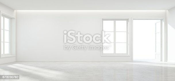 istock Room with concrete floor and empty wall background in modern house, Luxury white interior of new home 673230762