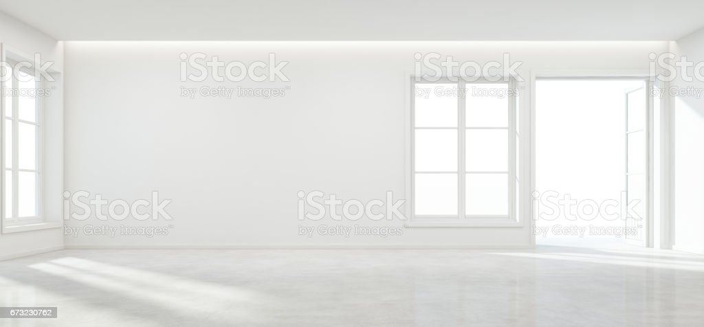 Room with concrete floor and empty wall background in modern house, Luxury white interior of new home stock photo