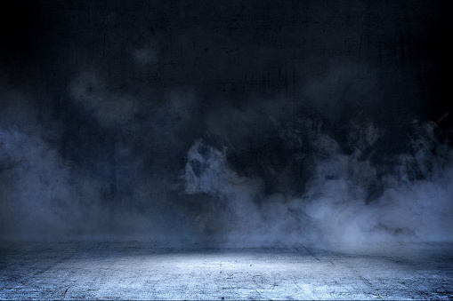istock Room with concrete floor and smoke 1135438279