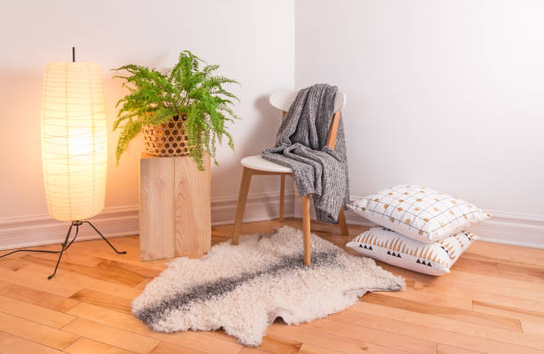 Room with cozy light decorated in Scandinavian style stock photo