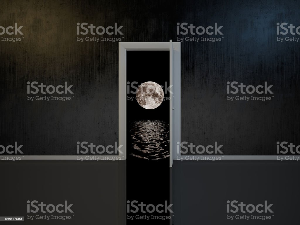 Room with door into the dreams stock photo