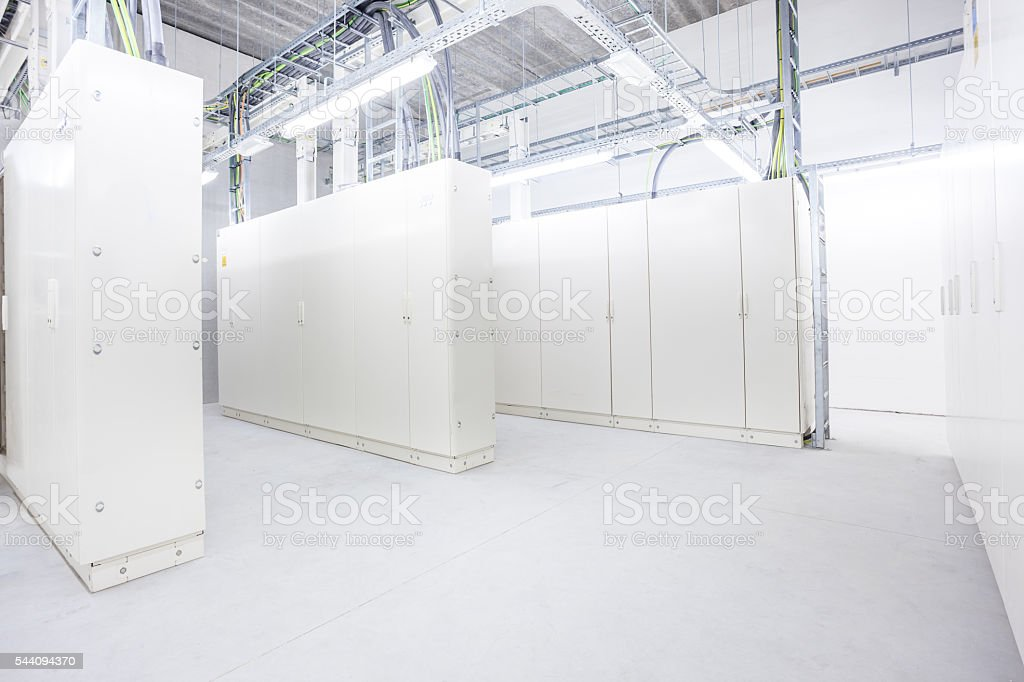 room with electrical boxes stock photo