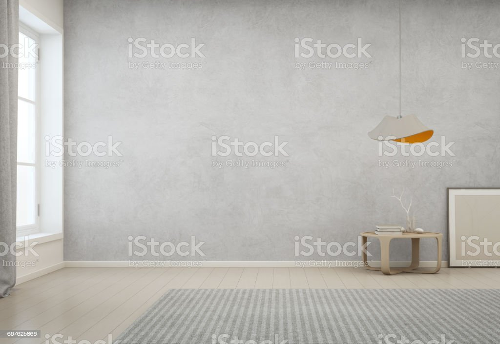 Room With Empty Concrete Wall Background In Modern House, Minimal Interior  Design Of Cozy Home Part 81
