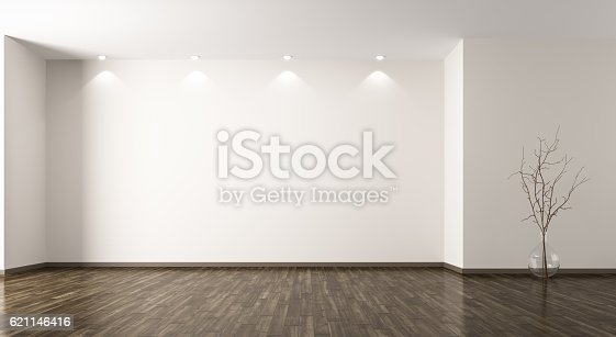 istock Room with glass vase background 3d rendering 621146416
