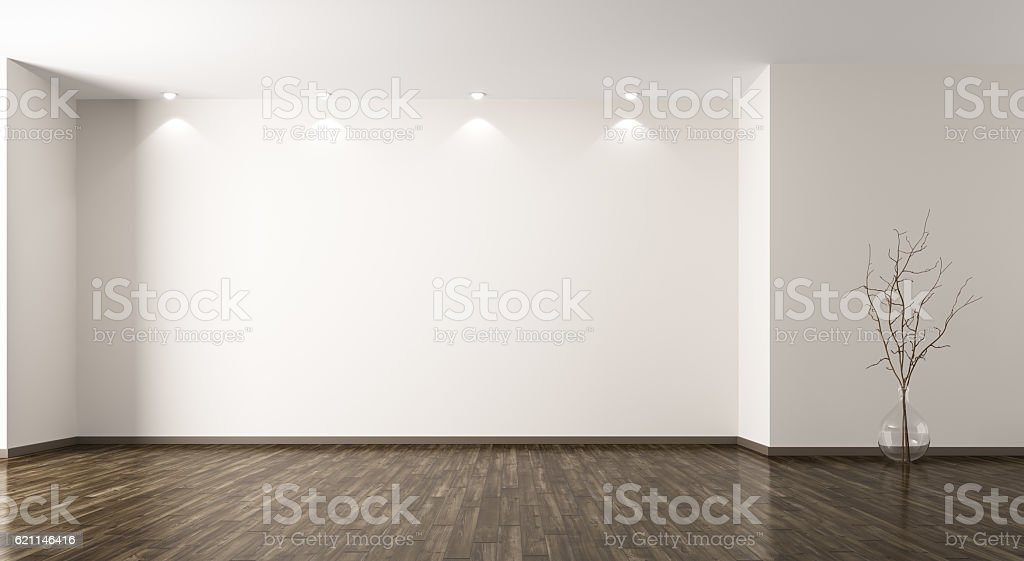 Room with glass vase background 3d rendering stock photo