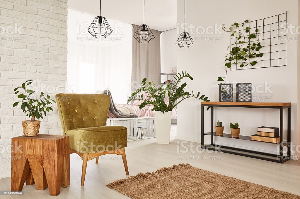 Room with green armchair stock photo