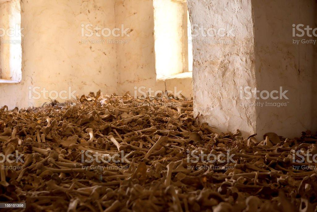 Room with human bones stock photo