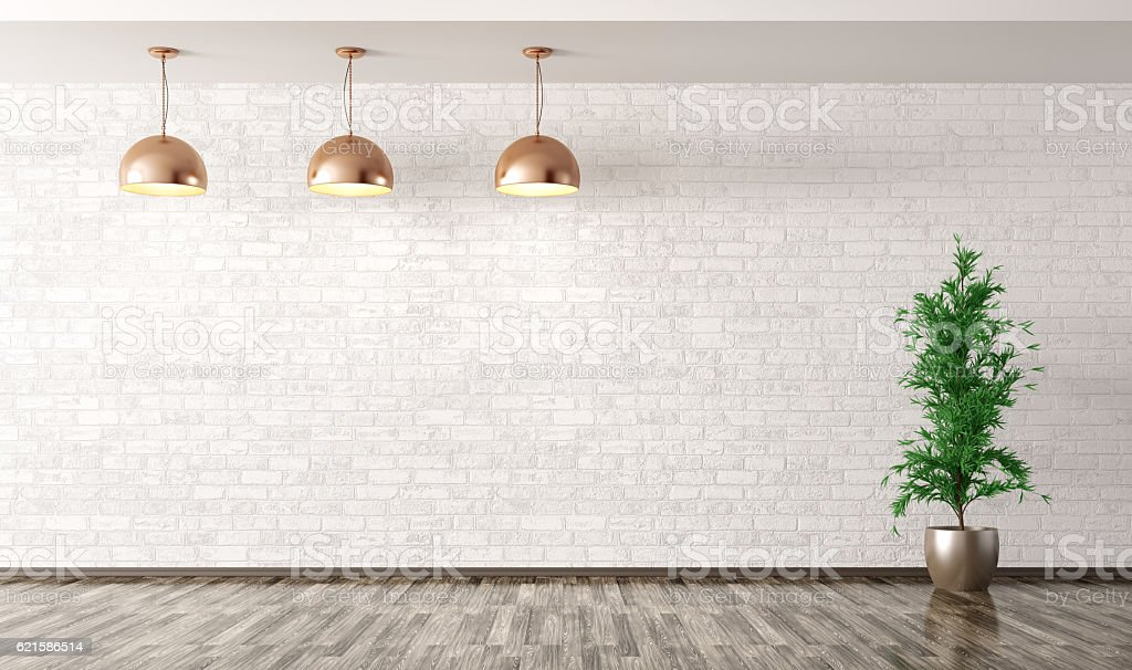 Room with lamps over white brick wall 3d rendering stock photo