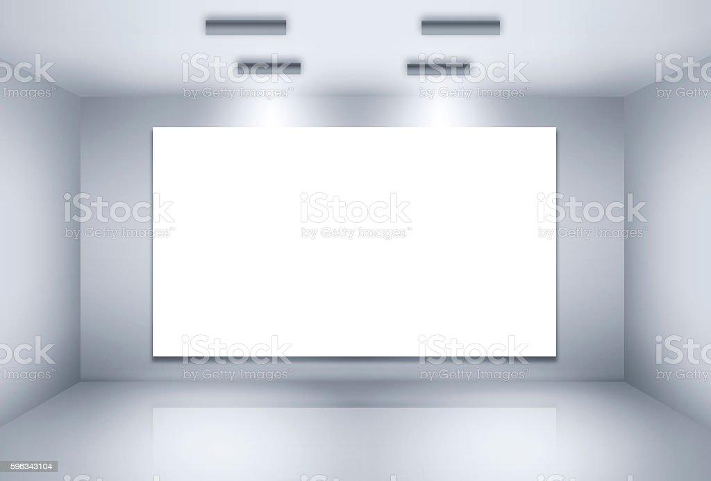 Room with lightspots and empty billboard Lizenzfreies stock-foto