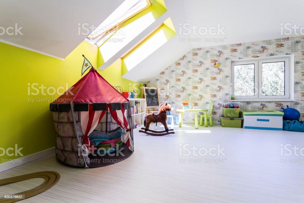 Room with many toys stock photo