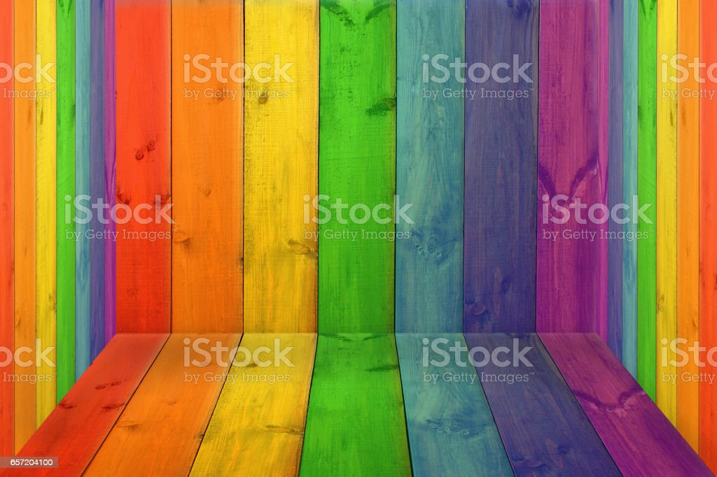 room with multicolored boards in colors of rainbow stock photo