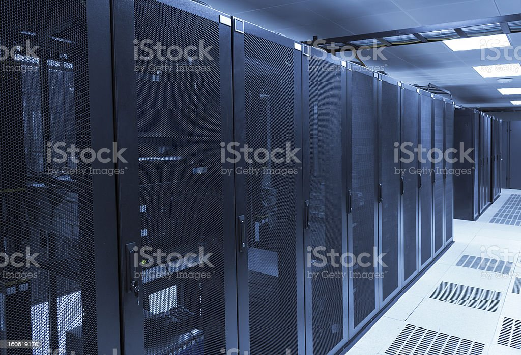 Room with network servers at data center stock photo