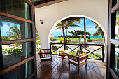 Private villa near Indian ocean (Zanzibar, Tanzania). View from the bedroom. Property released.