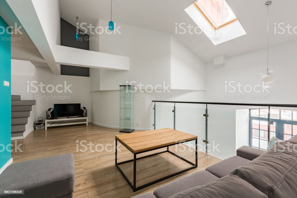 Room with sofa and tv stock photo