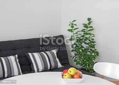 660325278istockphoto Room with table, sofa and green tree 466250775