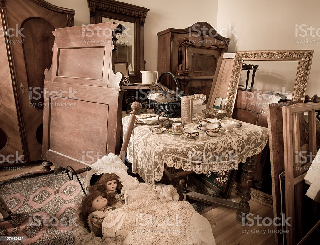 Room with vintage furniture stock photo