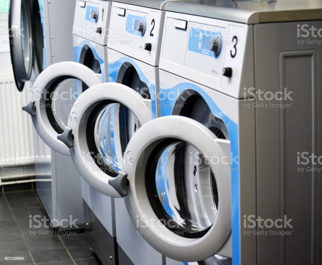 Room with washing machines stock photo