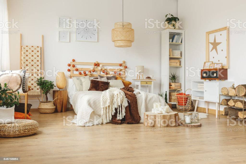 Room with wooden decorations stock photo