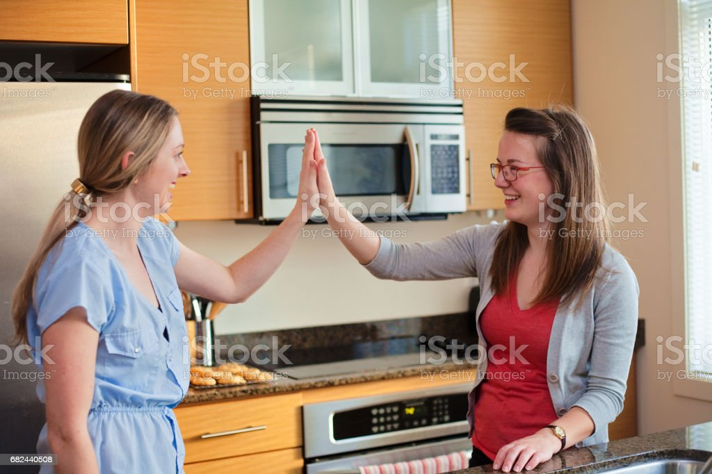 Roommate High Five royalty-free stock photo