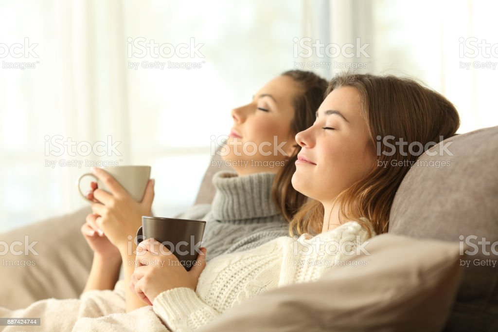 Roommates relaxing in winter on a couch stock photo