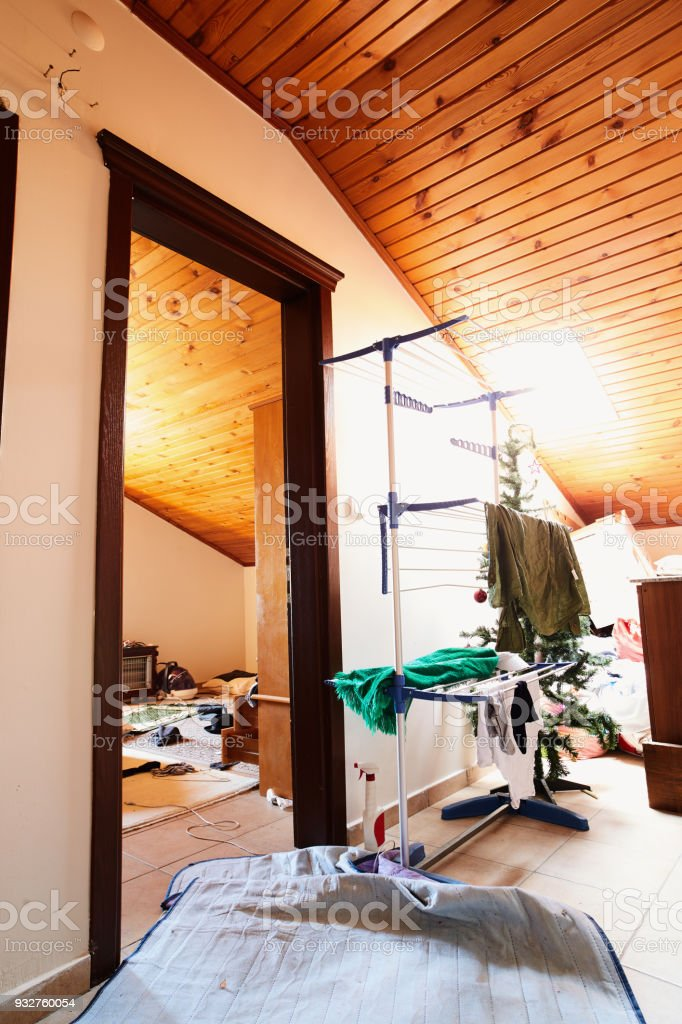 Rooms On The Roof Floor With Stairs Stock Photo Download Image Now Istock