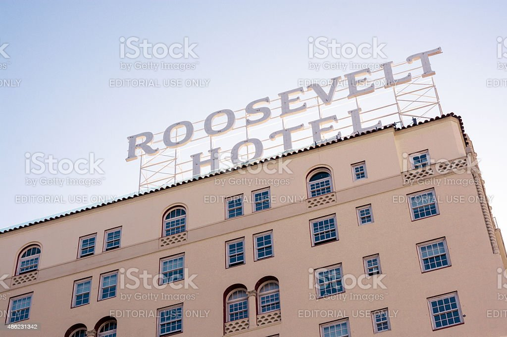 Roosevelt Hotel along Hollywood Boulevard in Los Angeles, CA stock photo