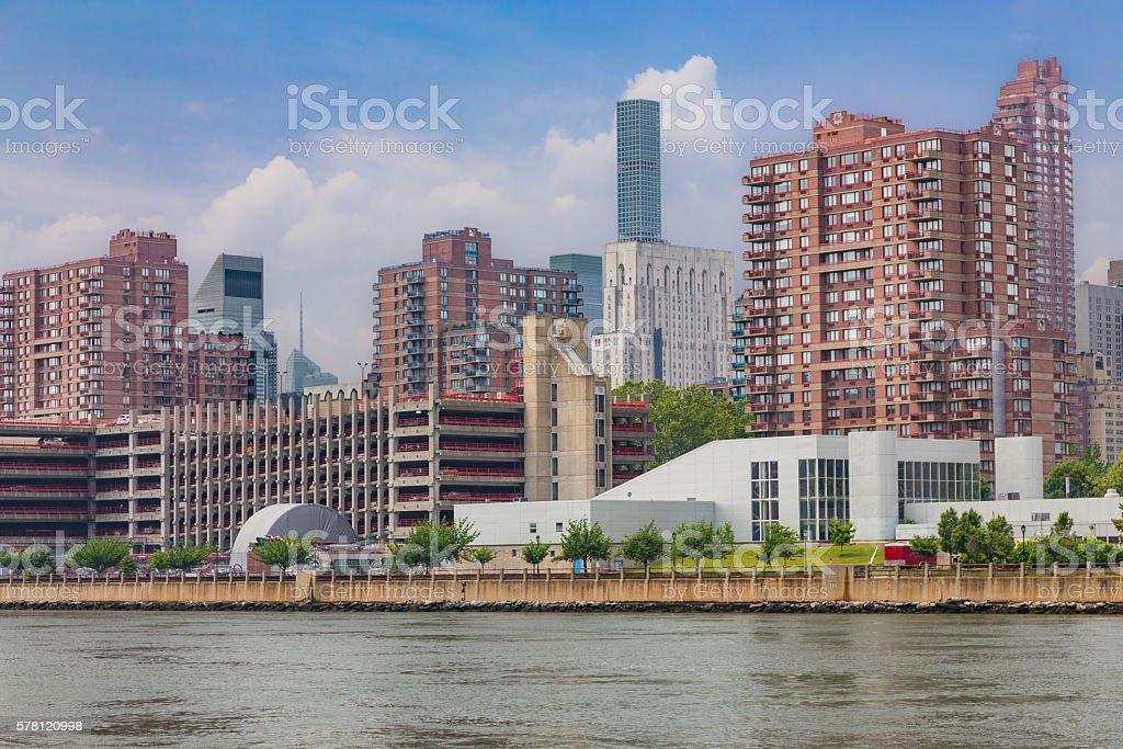 Roosevelt Island and Manhattan Upper East Side Skyline, New York. stock photo