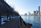 This picture shows a part of Roosevelt Island at Christmas 2017 in New York City.