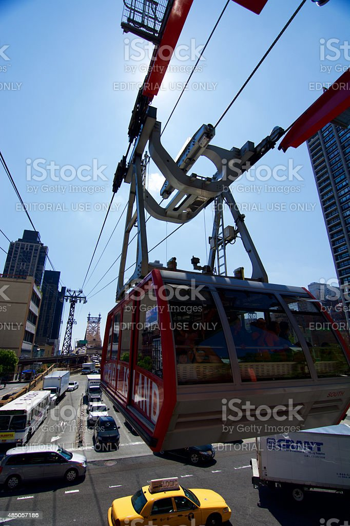 Roosevelt Island Tram and Queensboro Bridge stock photo