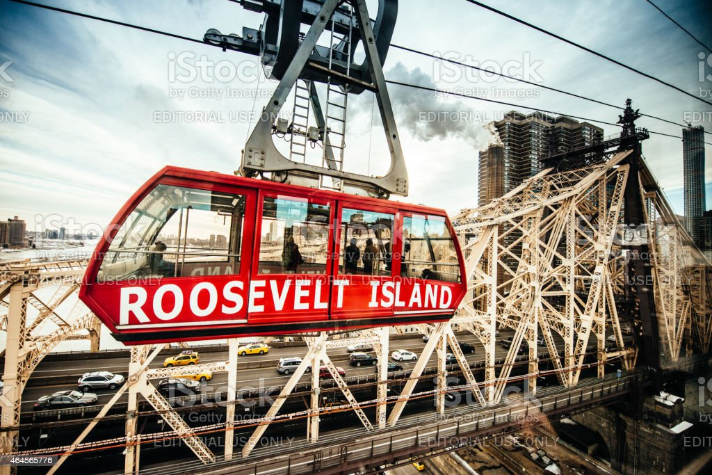 Roosevelt Island Tramway and Queensboro Bridge New York stock photo