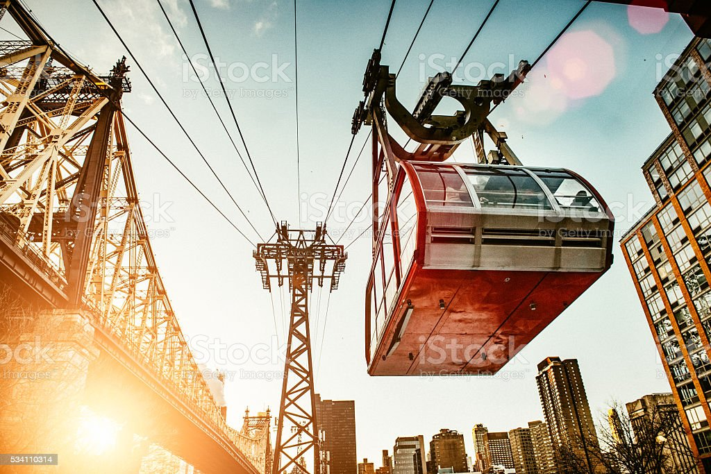 Roosevelt Island Tramway in New York City stock photo