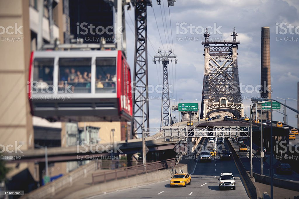 Roosevelt Island Tramway View in NYC stock photo