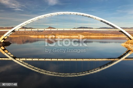 Roosevelt Lake and Bridge Viewpoint, an Engineering Masterpiece and one of Top Ten Steel Structures in USA at end of Apache Trail in Arizona Superstition Mountains