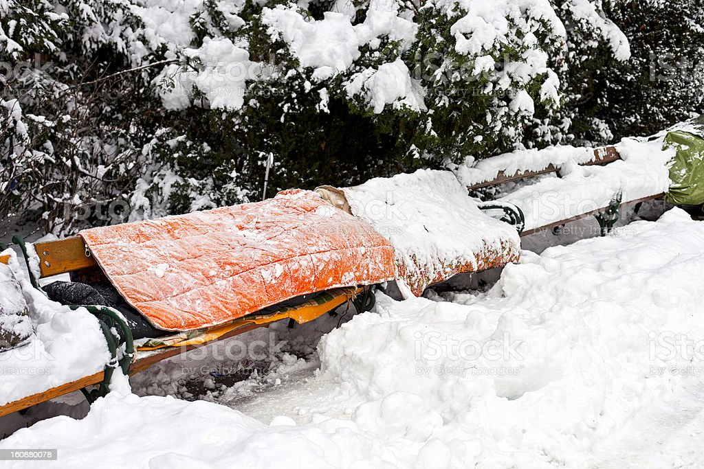 Roost der Obdachlosen Personen im winter – Foto