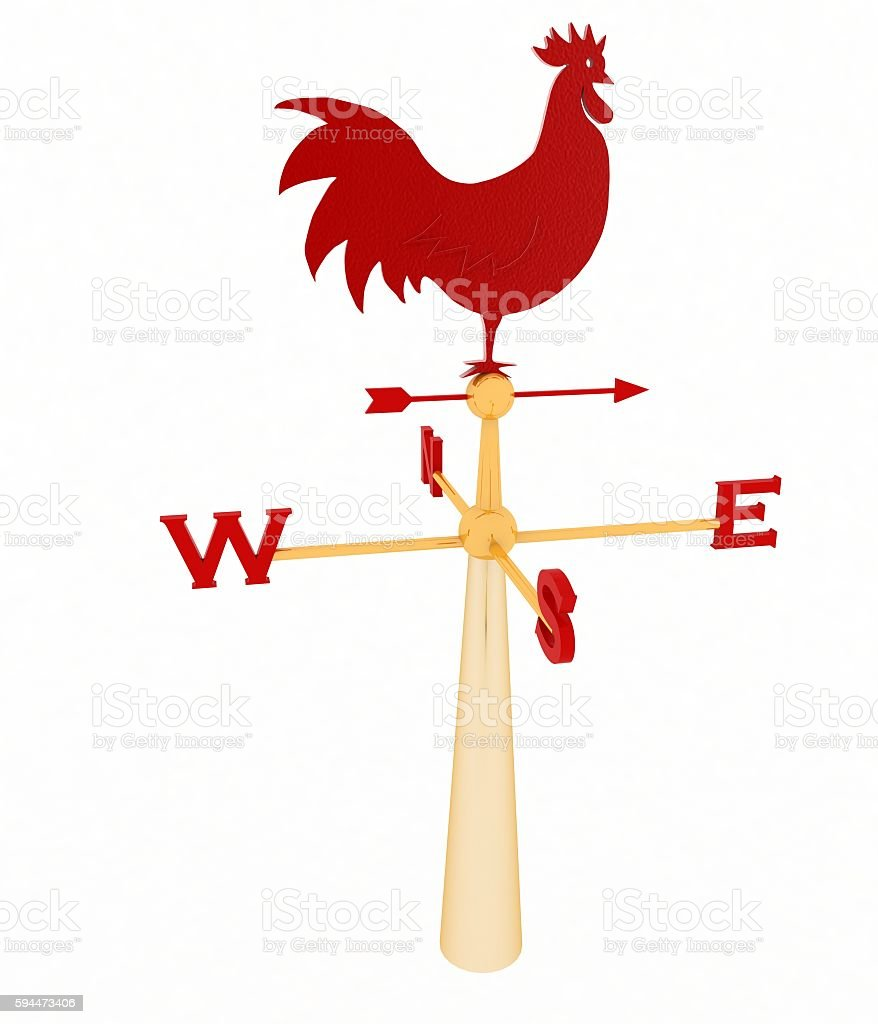 Rooster weather vane isolated on white stock photo